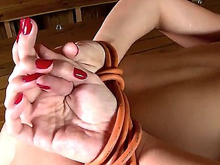 Sweet brunette hair PAige Turnah gets all tied up and brutaly drilled in her constricted holes
