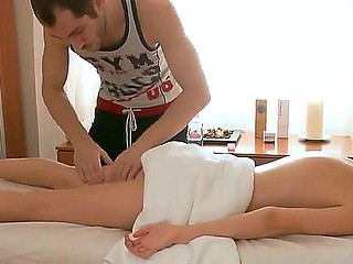 Perfect skinned chick Ema surprises this stylish masseur with her elegant naked forms