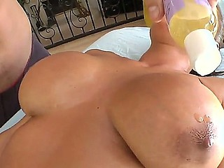 Lisa Ann becomes horny before massage of her big milk cans and licking of her trimmed pussy