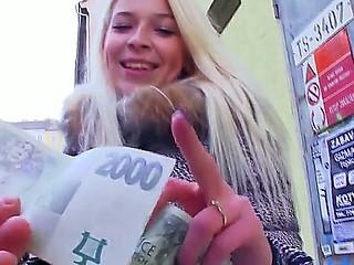 Blond teen Karol enjoys visit to her boyfriend where she kneels for some hard blowjob