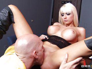 baldie squeezes blonde's massive fake tits
