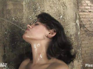 dorky milf enjoying void urine on her naked hot body