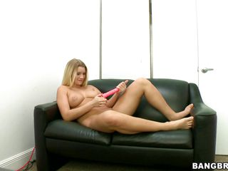 blonde babe receives a dick after dildo