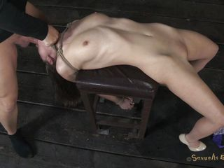 trashy milf bound on chair and mouth drilled