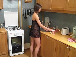 Lustful chap with vertical pecker is going to insert pecker right inside the babe in kitchen