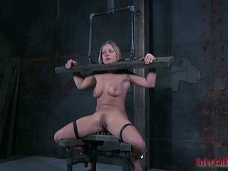 Gagged and clamped bitch gets punishment
