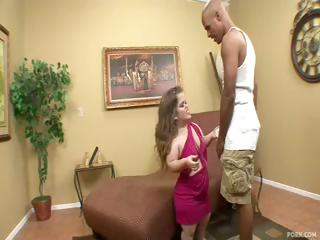 Midget Mini Mya receives a large black rod