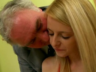 Aged old man is fingering the small vagina gap of blonde babe