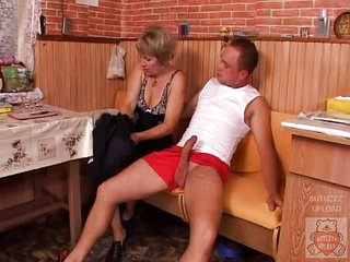 Mature mother and the Son&,#039,s ally have a good time on kitchen.