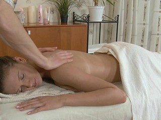 Bitchy whore with trimmed cum-hole is getting her massaged