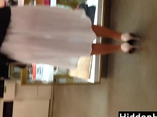 Looking Throughout This Womans White Dress