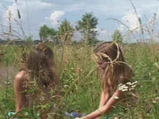 Wicked and glorious lesbian babes are having fun on the nature