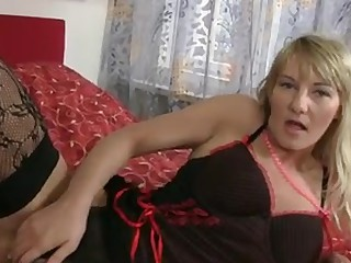 Hot blond cougar round massive natural love melons acquires naked off her lingerie and gives her  hairy pussy the great fucking close to the vibrator