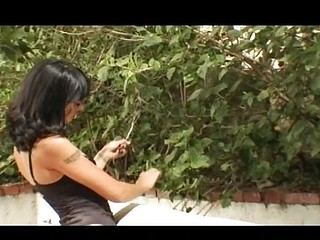 Dark-haired skinny babe with tiny tits acquires drilled in the ass outdoors