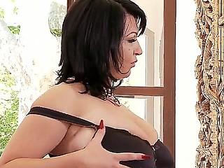 Hawt dark haired chick with big boobies Kora masturbating on camera with her vibrator