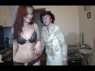 thin old nanny screwed by her hot redhead