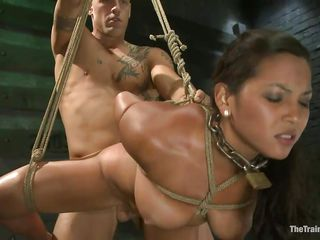 adriana is bound and fucked by a shaved muscled guy