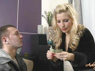 cute blond dominating a guy
