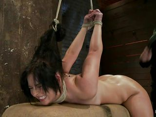 brunette hair tied and fucked in the pussy and mouth