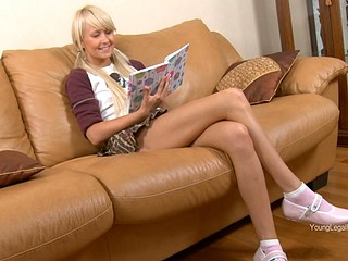 Daring schoolgirl Vika Nymph with upskirt is having real fuck