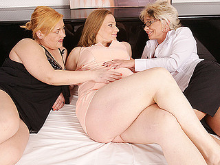 One obese wench is having wild and filthy sex with those both ladies