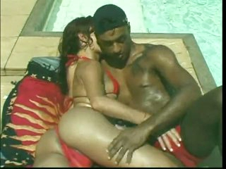 Poolside interracial act of love