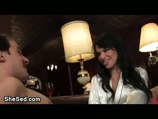 Glamour brunette ladyman sucked by a guy