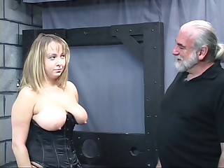 Old man dom pulls chubby sub&#039,s hair and smacks her big tit