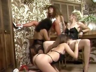 Females in Smutty undies team oral-fuckin