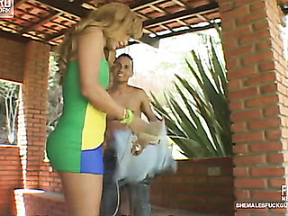Paty&Diego t-girl fucks fellow action