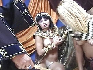 Pharaoh has some fun trying out the new girl in his harem