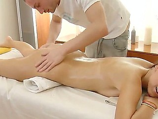 Gorgeous Aline becomes soaking soaked and excited during her first massage and begins to suck masseurs weenie